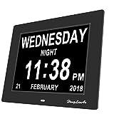 Digitaler Kalender Tag Uhr - Upgrade - 8 Zoll HongLanAo Digital Kalender Uhr mit Nicht Abkürzungen Tag & Monat - Woche Zeit Alzheimer Uhr ,Senioren Uhr Sehr Gut Geeignet für ältere  (schwarz)