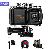 Apexcam 4K 20MP WiFi Action Cam EIS Ultra HD Sportkamera Wasserdichte Unterwasserkamera 40M 2.0'LCD 170 ° Weitwinkel-2.4G-Fernbedienung externes Mikrofon 2 Batterien und Zubehör