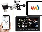 Sainlogic Profi WLAN Wetterstation - 10 in 1 WiFi Internet Funk Wetterstation mit Außensensor, Regenmesser, Wettervorhersage,Windmesser, Farbdisplay,...