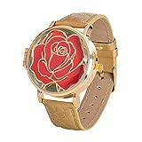 Accutime Watch Corp.. Die Schöne und das Biest Disney Armbanduhr Enchanted Rose aufklappbar Analog