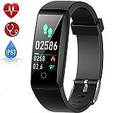Fitness Armband mit Pulsmesser, HETP Fitness Tracker Uhr Wasserdicht IP67 Blutdruckmesser FarbbildschirmSchrittzähler Uhr für Kinder Damen Männer Uhren...