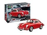 Revell 07679 Porsche 356 Coupé, Auto-Bausatz, Oldtimer 10 Modellbausatz mit Easy-Click-System, farbige Bauteile, für Einsteiger, rot, 1:16/25 cm