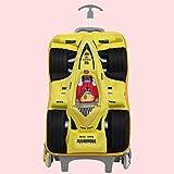 MRDEER Rennstil Kinder Trolley mit 6 Räder Reisekoffer Trolley Kindertrolley Treppensteigen Koffer Handgepäck,45×28×15cm,Für Jungs, Mädchen,Yellow