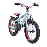 BIKESTAR Premium Sicherheits Kinderfahrrad 16 Zoll für Mädchen und Jungen ab 4-5 Jahre  16er Kinderrad Mountainbike  Fahrrad für Kinder Berry & Türkis