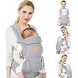 Viedouce Babytrage Ergonomische/Reine Baumwolle Leicht und atmungsaktiv/Multiposition:Dorsal und Ventral/Verstellbare Kopfstütze/für Neugeborene und Kleinkinder von 3 bis 48 Monat (3,5 bis 20 kg)