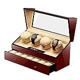 L.HPT Uhrenbeweger für Automatikuhren 4 Uhren,4+6 Watch Winder 4 Box Motor Automatic Holz Uhrenbox Uhrenboxen Uhrenaufbewahrung Uhrenkasten Uhrenvitrine...