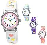 Pure Time Einhorn Unicorn Kinder-Uhr Mädchen-Uhr Kinder Armband-Uhr Pferd Pony Tier Silikon Armband Mädchen Uhr Kinderuhr Weiß Rosa Lila Türkis Gelb Lern-Uhr Schul-Uhr 3D (Weiß - White)