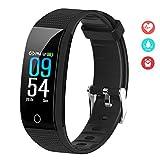 EFO SHM Fitness Armband Blutdruck Fitness Tracker Wasserdicht IP68 Schrittzähler Sport Uhr Aktivitätstracker Stoppuhr Pulsmesser Damen Herren Anruf SMS...