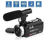 Camcorder Videokamera IR Nachtsicht WiFi Vlogging Kamera für YouTube Full HD 1080P 3,0'HD Touchscreen Digitalkamera Camcorder mit Mikrofon