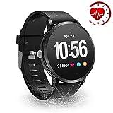 YoYoFit Fitness Armband Tracker, IP67 Wasserdicht mit GPS Schrittzähler Uhr Herzfrequenz mit Pulsmesser Blutdruck Blutsauerstoff Wetter Musik Steuerung Stoppuhr für Kinder Damen Herren Geschenk