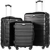 COLIFE Hartschalen-Koffer Trolley Rollkoffer Reisekoffer mit TSA-Schloss und 4 Rollen(Schwarz, Koffer-Set)