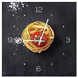 levandeo Wanduhr aus Glas 30x30cm Uhr Glasbild Küche Pasta Nudeln Gewürze Kochen Deko