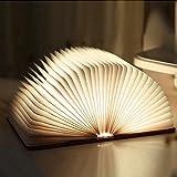 LEDGLE Buchlampe faltbar LED Tischlampe aus Holz mit USB Kabel Buch-Form dekorative Schreibtischlampe warmweiß kreatives Geschenk tragbar