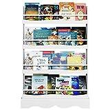 Homfa Bücherregal Wandregal Hängeregal Wandablage kinderregal Aufbewahrungsregal Regal mit 4 Ablagen für Bücher und Deko weiß 80 * 11.5 * 118cm