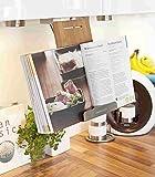Kochbuchhalter Buchhalterung hängend Bambus / Edelstahl 32x16x6 cm Küchenhilfe