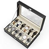 CRITIRON Uhrenbox für 20 Uhren Aufbewahrung Uhrenkoffer Uhrenkasten Uhrenvitrine Schmuckkästchen Uhrenschatulle Schaukasten aus PU Schwarz