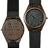 Shifenmei Herren Uhr Quarz Analog Gravur Holzuhr mit Leder Armband Personalisierte Geschenk für Geburtstag inkl. Geschenkbox S5520