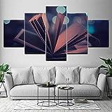 KGKBH 5 Leinwandbilder Klassische Bilder der Buchwand für das Wohnzimmer modern 5 Stück HD gedruckt Bilder von der Dekoration der Leinwand Malerei Kunst