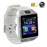 Touch Screen Smart Uhr Smart Watch mit Handy Funktionen Bluetooth Fitness Schlaf Monitor Audio Play Facebook DZ09 Wei?