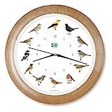 KOOKOO Singvögel Quarzwerk Holz, Die Singende Vogeluhr, ist eine Uhr mit 12 heimischen Singvögeln und echten, natürlichen Vogelstimmen, Wanduhr mit Lichtsensor