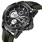 Herren Sport Analog Digital Uhren Outdoor Nylon Wasserdicht Armee Uhr, Wecker/Timer, Big Face Military Armbanduhren für Herren mit LED-Hintergrundbeleuchtung–Schwarz