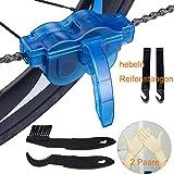 JTENG Fahrrad Kettenreinigungsgerät Kettenreiniger Reinigung Scrubber Pinsel-Werkzeug im Set mit Ritzelbürste,2 Paar Latexhandschuhe, 2 Stück hebeln Reifenstangen