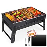 Fixget Portable Grill, BBQ Holzkohlegrill Tragbar Mini Grill mit Rostfreier Stahl BBQ Drahtgeflecht Faltbare Mini Holzkohlegrill BBQ für Outdoor Garten Camping Party Beach Barbecue