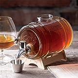 Bourbon-Fass Whisky Dekanter - 1000ml Liquor Dispenser - Klassisches Retro Britisches Weinglas Geschenke für Männer und Frauen