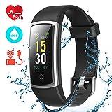 CHEREEKI Fitness Armband, Fitness Tracker mit Pulsmesser IP68 Wasserdichter Farbbildschirm Aktivitätstracker Fitness Uhr mit Blutdrucküberwachung...