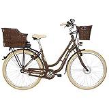 Fischer E-Bike Retro ER 1804 (2019), nussbraun glänzend, 28', RH 48 cm, Vorderradmotor 20 Nm, 36 Volt Akku, 317 Wh