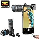 Apexel Handy Objektiv Universal 28X Clip-On Tele Teleskop Kamera Handy Zoom Objektiv mit Verschluss für iPhone Samsung, Huawei, Xiaomi, Android Smartphone,...