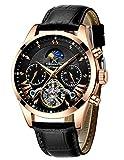 Herren Automatikuhr Männer Mechanische Automatik Wasserdicht Gold Edelstahl Skelett Designer Armbanduhr Mann Klassisch Schwarz Datum Kalender Leuchtende Mond Phase Analog Uhren