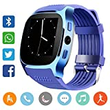 Smart Watch CanMixs CF02 Unterstützung SIM TF-Karte, Armbanduhr mit Kamera, Schrittzähler, Schlaf-Monitor, Message Sync Notifier, Musik-Player, sesshaft für Android Samsung Huawei, HTC, ZTE (blau)