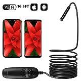 WiFi Endoskop ILHIOME - 5M /16.5FT Handy Endoskopkamera Kabelloses Inspektionskamera 1200P HD Halbsteife Kabel Boreskope Kamera für...