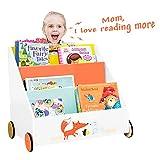 Labebe Kinder Bücherregal, Holz Standregal with Räder, Orange Kiefer 2-in-1 Bücherregal Für Kinder 1-5 Jahre Alt, Regal Bücher kinder/Klein Bücher...