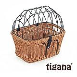 Tigana - Fahrradkorb aus Weide Natur mit Gitter und Kissen für Lenker 45 cm (N-S)