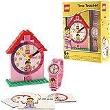 LEGO 9005039 Time Teacher Rosa Kinder-Armbanduhr mit Minifigur und Gliederarmband zum Zusammenbauen  Uhr zum Zusammenbauen und Aktivitätskarten  rosa/weiß  Kunststoff  Gehäusedurchmesser 25mm  analoge Quarzuhr  Junge/ Mädchen  offiziell