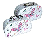 Kosmetikköfferchen Kosmetikkoffer Kosmetiktasche Kulturbeutel Kulturtasche Kinderkoffer Kulturtasche Toilettenartikel für Damen Mädchen Frauen Make-up Ideal für Reisen (Schmetterling, M + S)