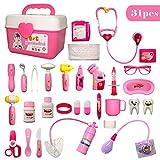 HERSITY 31 Stück Rosa Doktorkoffer Kinderarztkoffer Arzt Spielzeug Set Rollenspiel Geschenke für Mädchen Kinder