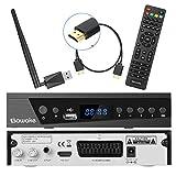 Digital Satelliten Receiver, SAWAKE SAT-Receiver mit WiFi Adapter/ Fernsteuerung/ HDMI Kabel/ Netz Stecker (WiFi, HDTV, DVB-S2, HDMI, SCART, 1 USB 2.0, Full HD 1080p, YouTube)
