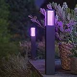 Philips Hue White & Color Ambiance Impress Wegeleuchte, schwarz | LED-Stehleuchte für den Aussenbereich, dimmbar, bis zu 16 Millionen Farben, steuerbar via App, Smartphone & Tablet