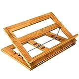 Relaxdays Kochbuchständer Bambus H x B x T: ca. 22 x 33 x 22,5 cm Rezepthalter neigungsverstellbar in 3 Stufen Buchständer für Küche und Büro als Kochbuchhalter und Leseständer Buchstütze Holz, natur