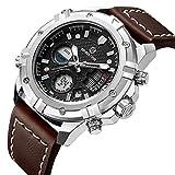 Uhren Herren Sport Digital-Analog Wasserdicht Multifunktional Military Braun Leder Alarm Stop Armbanduhr
