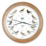 KOOKOO Singvögel Holz, Die Singende Vogeluhr, mit 12 heimischen Singvögeln und echten, natürlichen Vogelstimmen, mit RC Funkquarzwerk und Lichtsensor