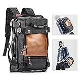 Overmont 35I Multifunktionale Vintage Herren Rucksack Tasche für Reise Camping Wandern Ausflug Outdoor Khaki/ Schwarz