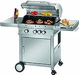 ProfiCook PC-GG 1058 Gasgrill, 3 Edelstahlbrenner + 1 zusätzliche Kochstelle, 3 Heizzonen für individ. Temperatursteuerung, stufenlose Temperatureinstellung, herausnehmbarer Fettauffangbehälter, Temperaturanzeige, Edelstahlfront und -haube