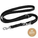 vitazoo Premium Hundeleine in schwarz, massiv und verstellbar in 3 Längen – für große und kräftige Hunde geeignet – Hundeführleine, Dopelleine –...