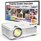 QKK Beamer, AK-81 Mini Projektor mit Screen, 3800 Lumens Videoprojektor, Unterstützt 1080P Full HD, Kompatibel mit TV Stick, PS4, HDMI, VGA, SD, AV und USB,...