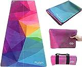 Plyopic Travel Yogamatte   Luxus 3-in-1 Matte/Handtuch, Faltbar, Rutschfest, Reversibel   Für alle Yoga Styles, Pilates und Fitness   Natürlich und...