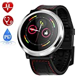 Zagzog Bluetooth Smartwatch Fitness Uhr Intelligente Armbanduhr Sport Uhr mit Schrittzähler Pulsmesser Schlafmonitor Kompatibel mit IOS Android Schwarz